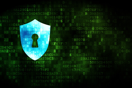 Security concept: pixelated Shield With Keyhole icon on digital background, empty copyspace for card, text, advertising Stock Photo