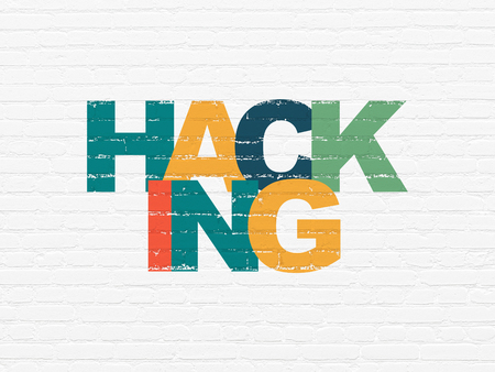 Safety concept: Painted multicolor text Hacking on White Brick wall background Stock Photo