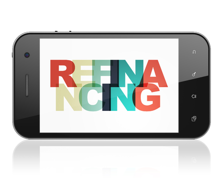 refinancing: Finance concept: Smartphone with Painted multicolor text Refinancing on display, 3D rendering