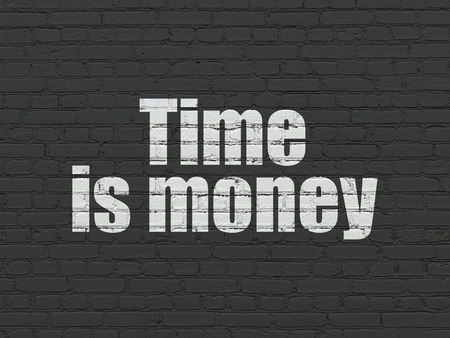cronologia: Time concept: Painted white text Time Is money on Black Brick wall background