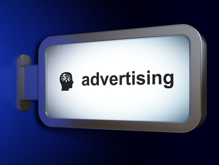 billboard advertising: Marketing concept: Advertising and Head With Finance Symbol on advertising billboard background, 3D rendering