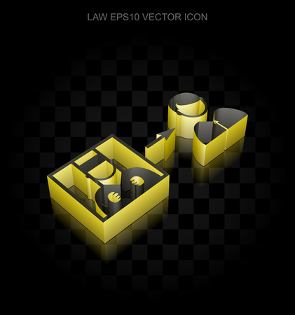 Law icon: Yellow 3d Criminal Freed made of paper tape on black background, transparent shadow