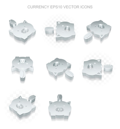 pig iron: Banking icons set: different views of flat 3d metallic Money Box With Coin icon with transparent shadow on white background, EPS 10 vector illustration.