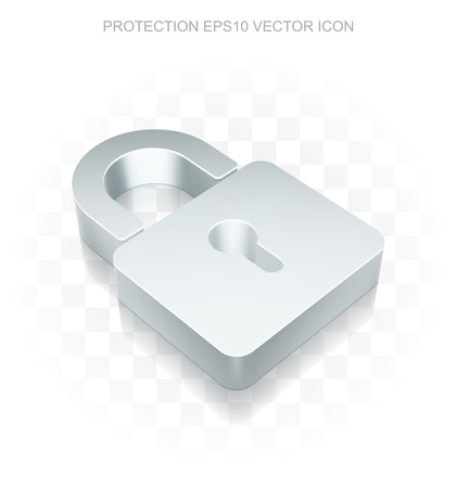 Privacy icon: Flat metallic 3d Closed Padlock, transparent shadow on light background, EPS 10 vector illustration.