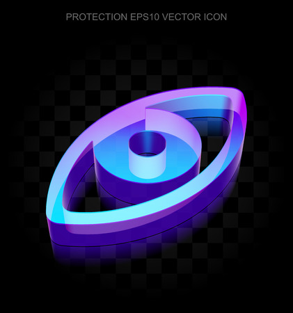 eye icon: Privacy icon: 3d neon glowing Eye made of glass with transparent shadow on black background, EPS 10 vector illustration. Illustration