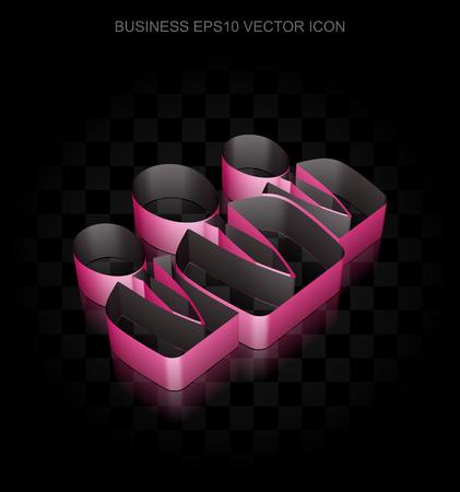 shadow people: Finance icon: Crimson 3d Business People made of paper tape on black background, transparent shadow