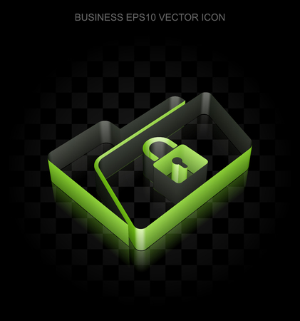 folder lock: Finance icon: Green 3d Folder With Lock made of paper tape on black background, transparent shadow Illustration