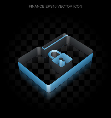 folder lock: Business icon: Blue 3d Folder With Lock made of paper tape on black background, transparent shadow Illustration