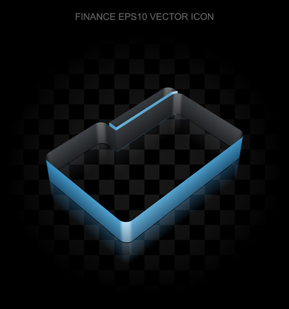 folder icon: Business icon: Blue 3d Folder made of paper tape on black background, transparent shadow