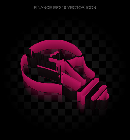 broken strategy: Finance icon: Crimson 3d Light Bulb made of paper tape on black background, transparent shadow