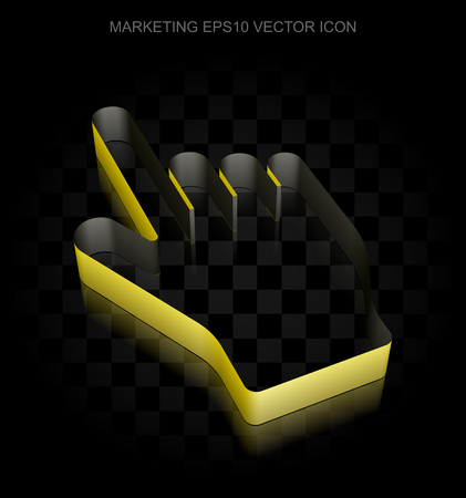 3d mouse: Advertising icon: Yellow 3d Mouse Cursor made of paper tape on black background, transparent shadow, EPS 10 vector illustration. Illustration
