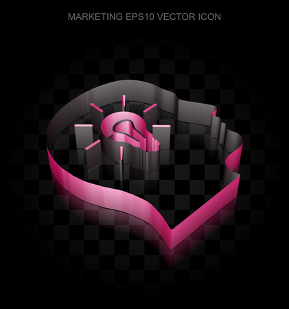 crimson: Advertising icon: Crimson 3d Head With Light Bulb made of paper tape on black background, transparent shadow, EPS 10 vector illustration.