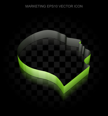 head paper: Marketing icon: Green 3d Head made of paper tape on black background, transparent shadow, EPS 10 vector illustration.