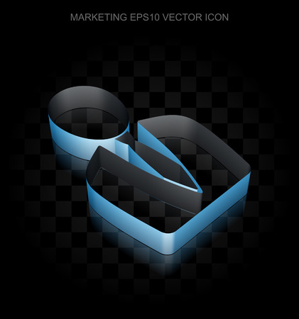 man made: Marketing icon: Blue 3d Business Man made of paper tape on black background, transparent shadow, EPS 10 vector illustration.