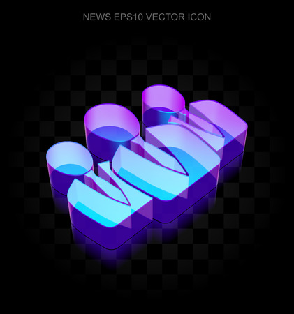 shadow people: News icon: 3d neon glowing Business People made of glass with transparent shadow on black background, EPS 10 vector illustration.