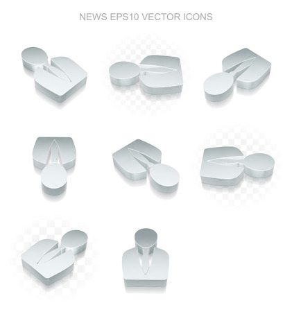 good news: News icons set: different views of flat 3d metallic Business Man icon with transparent shadow on white background Illustration