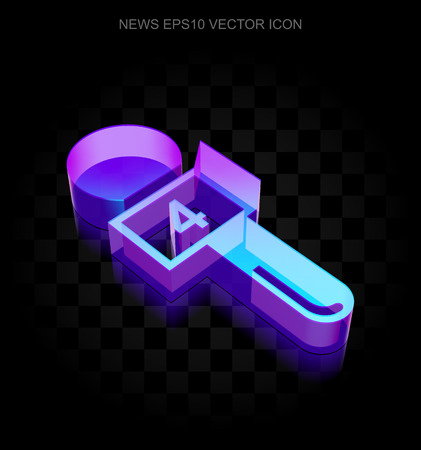 good news: News icon: 3d neon glowing Microphone made of glass with transparent shadow on black background, EPS 10 vector illustration.