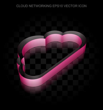 crimson: Cloud computing icon: Crimson 3d Cloud made of paper tape on black background, transparent shadow, EPS 10 vector illustration.