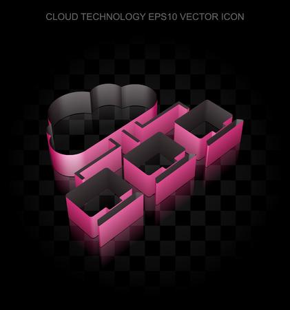 crimson: Cloud computing icon: Crimson 3d Cloud Network made of paper tape on black background, transparent shadow, EPS 10 vector illustration. Illustration