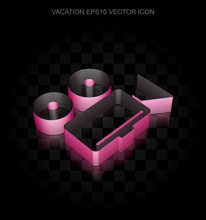 crimson: Tourism icon: Crimson 3d Camera made of paper tape on black background, transparent shadow, EPS 10 vector illustration.