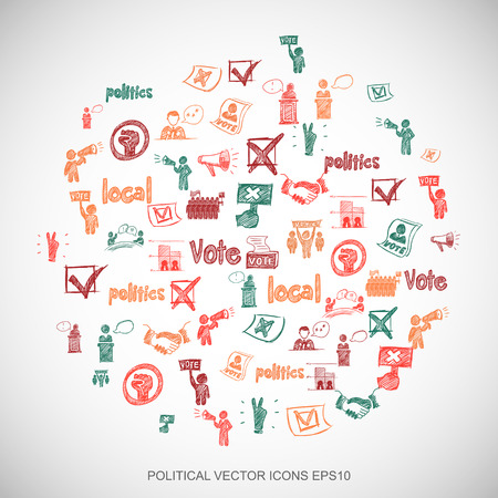 dictatorship: Multicolor doodles flat Hand Drawn Politics Icons set In A Circle on White background.