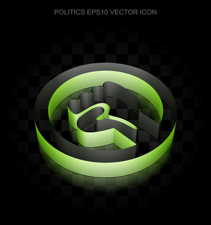 uprising: Political icon: Green 3d Uprising made of paper tape on black background, transparent shadow, EPS 10 vector illustration.