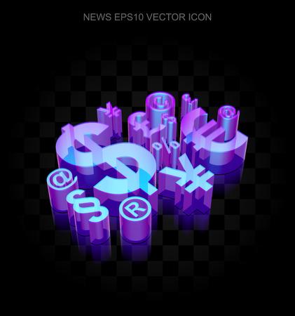 ニュース アイコン: EPS 10 ベクトル図の黒の背景に 3 d のネオンが光る金融シンボルとガラス製透明な影します。