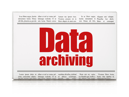 data archiving: Data concept: newspaper headline Data Archiving on White background, 3D rendering Stock Photo