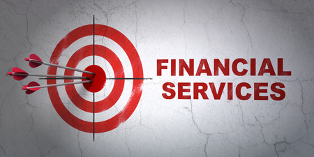 Success currency concept: arrows hitting the center of target, Red Financial Services on wall background, 3D rendering