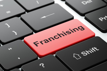franchising: Finance concept: computer keyboard with word Franchising, selected focus on enter button background, 3D rendering Stock Photo