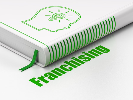 franchising: Finance concept: closed book with Green Head With Lightbulb icon and text Franchising on floor, white background, 3D rendering