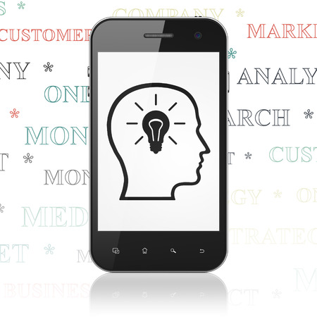 head tag: Advertising concept: Smartphone with  black Head With Lightbulb icon on display,  Tag Cloud background, 3D rendering Stock Photo