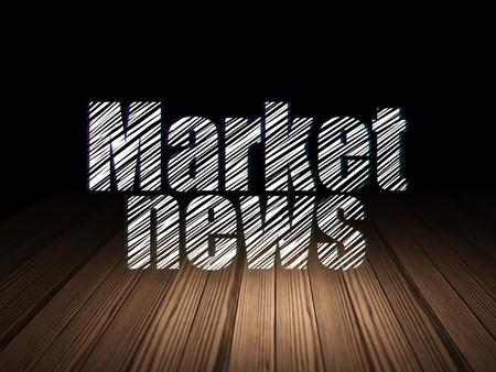 news room: News concept: Glowing text Market News in grunge dark room with Wooden Floor, black background