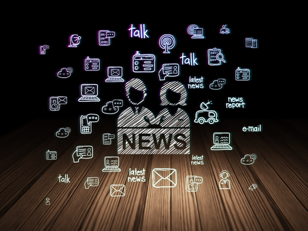 news room: News concept: Glowing Anchorman icon in grunge dark room with Wooden Floor, black background with  Hand Drawn News Icons