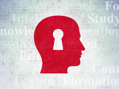 head tag: Learning concept: Painted red Head With Keyhole icon on Digital Data Paper background with  Tag Cloud Stock Photo