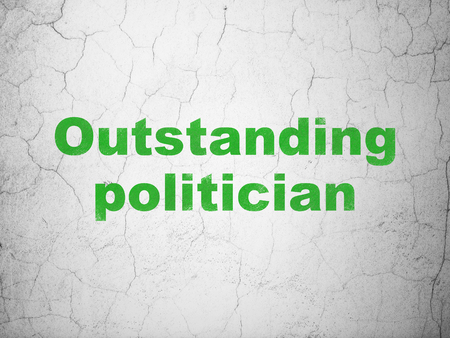 outstanding: Politics concept: Green Outstanding Politician on textured concrete wall background Stock Photo