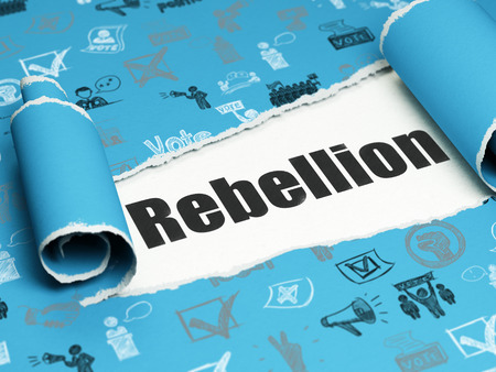 rebellion: Political concept: black text Rebellion under the curled piece of Blue torn paper with  Hand Drawn Politics Icons, 3D rendering Stock Photo