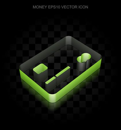 paper currency: Currency icon: Green 3d Credit Card made of paper tape on black background, transparent shadow, EPS 10 vector illustration. Illustration