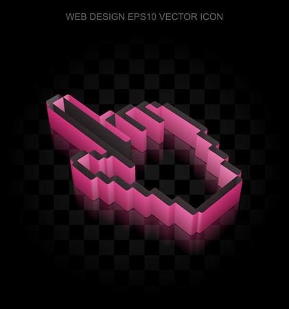 3d mouse: Web development icon: Crimson 3d Mouse Cursor made of paper tape on black background, transparent shadow, EPS 10 vector illustration. Illustration