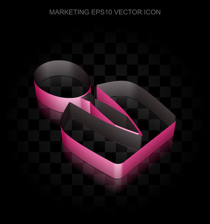 man made: Marketing icon: Crimson 3d Business Man made of paper tape on black background, transparent shadow, EPS 10 vector illustration.