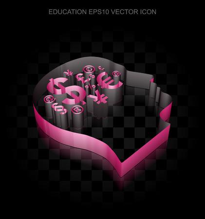 crimson: Education icon: Crimson 3d Head With Finance Symbol made of paper tape on black background Illustration