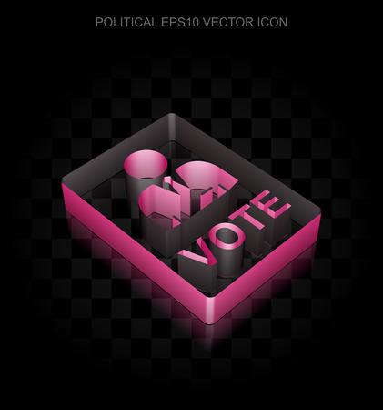 crimson: Political icon: Crimson 3d Ballot made of paper tape on black background, transparent shadow, EPS 10 vector illustration.