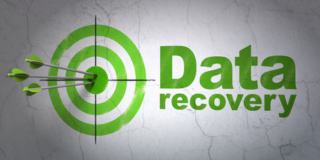 data recovery: Success Information concept: arrows hitting the center of target, Green Data Recovery on wall background, 3D rendering Stock Photo