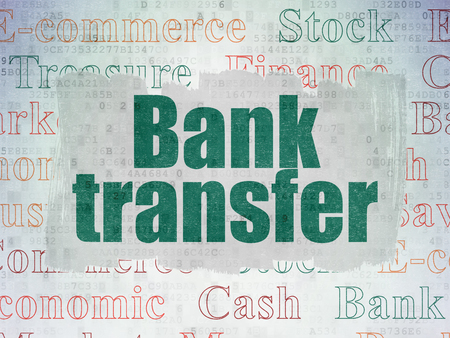 bank transfer: Banking concept: Painted green text Bank Transfer on Digital Data Paper background with   Tag Cloud