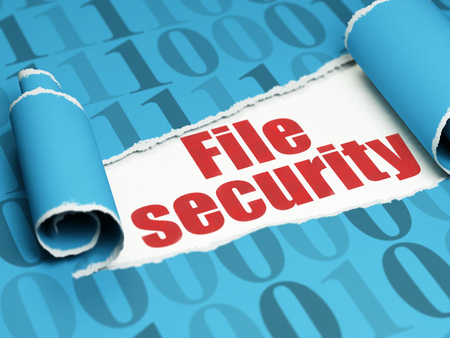 binary file: Security concept: red text File Security under the curled piece of Blue torn paper with  Binary Code, 3D rendering Stock Photo