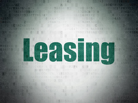 Finance concept: Painted green word Leasing on Digital Data Paper background