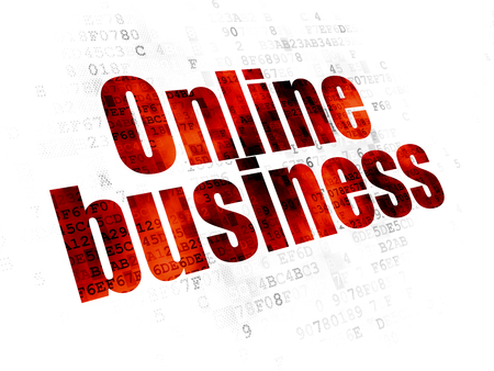 pixelated: Business concept: Pixelated red text Online Business on Digital background