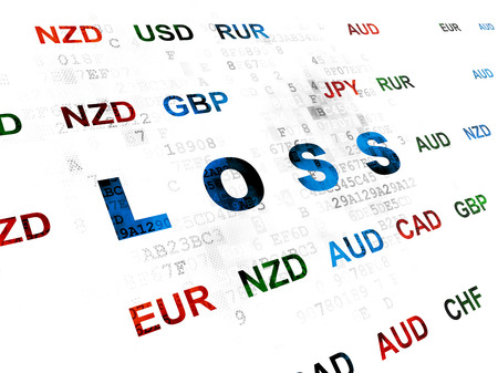 loss leader: Finance concept: Pixelated blue text Loss on Digital wall background with Currency