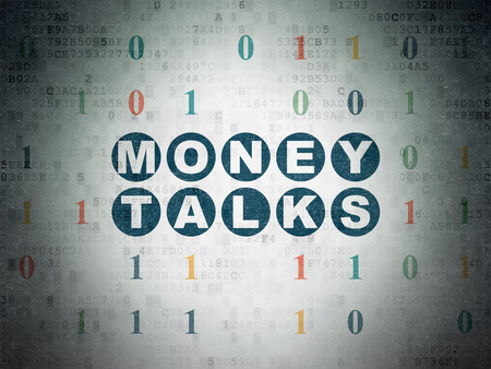 conversaciones: Business concept: Painted blue text Money Talks on Digital Data Paper background with Binary Code