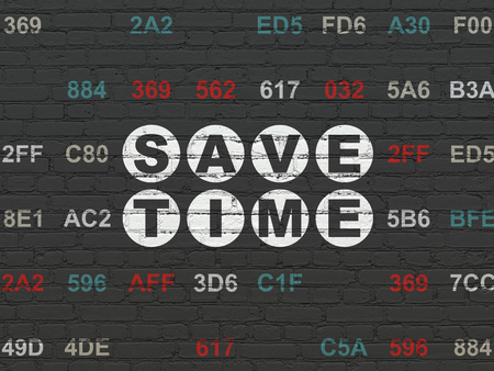 save time: Timeline concept: Painted white text Save Time on Black Brick wall background with Hexadecimal Code Stock Photo